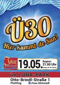 """Ü30 """"Hier kummt de Sun!""""   Fr, 19.05.2017 von 21:00 bis 04:00 Uhr"""