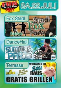 Fox Stadl Party mit DJ Stefan und Summer Party mit DJ Balu | Sa, 22.07.2017